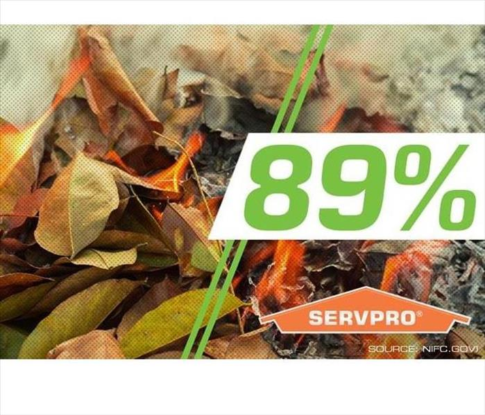 A bundle of leaves is on the ground and has caught on fire. There is a graphic that says 89%
