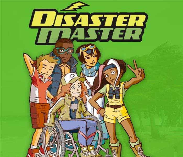 A group of 5 cartoon children of different backgrounds are standing together in a group under the graphic Disaster Master