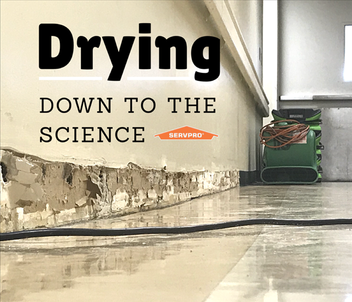 "Water damage to a floor with a piece of drying equipment in the corner and print stating ""Drying down to the science"""